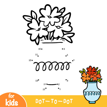 Numbers game, education dot to dot game for children, Vase Illustration