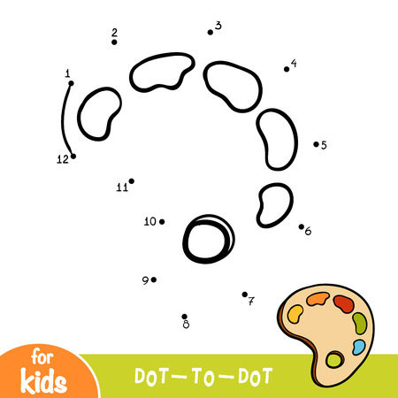 Numbers game, education dot to dot game for children, Art palette