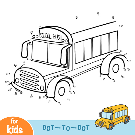 Numbers game, education dot to dot game for children, School bus
