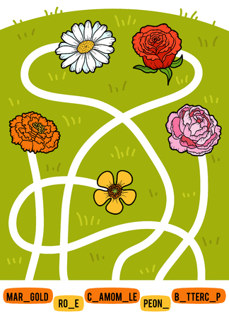 Maze game for children. Find the way from the picture to its title and add the missing letters. Set of flowers