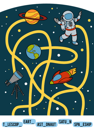 Maze game for children. Find the way from the picture to its title and add the missing letters. A set of space objects. Earth, Astronaut, Saturn, Spaceship and Telescope Illustration