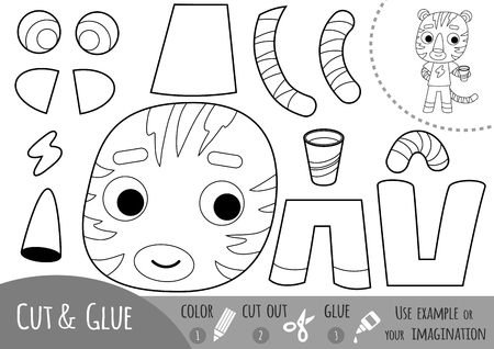 Education paper game for children, Tiger. Use scissors and glue to create the image. Illustration