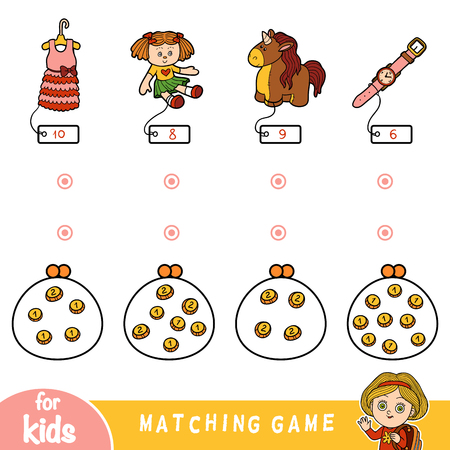 Matching education game for children. Count the coins and choose a toy by the price. Set of girls objects (doll, unicorn, watch and dress)