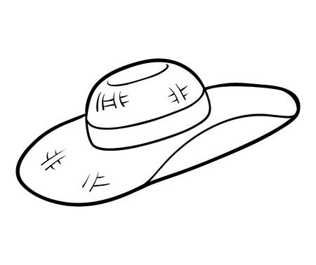 Livre de coloriage pour enfants, chapeau de soleil pour femmes Vecteurs