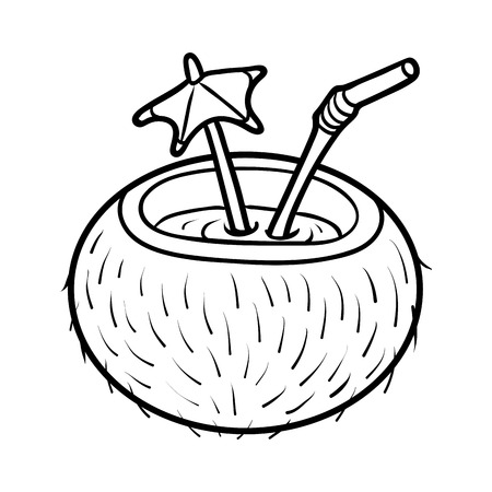 Coloring book for children, Coconut cocktail with straw
