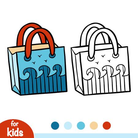Coloring book for children, Beach bag Illustration