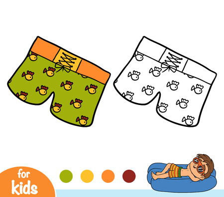 Coloring book for children, Mens swim shorts Vectores