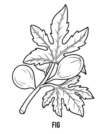 Kolorowanka dla dzieci, drzewo figowe Ilustracje wektorowe
