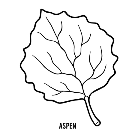 Coloring book for children, Aspen leaf