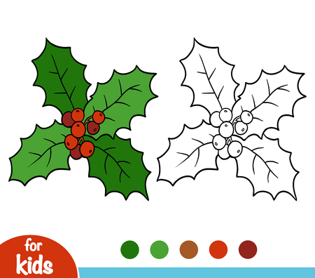 Coloring book for children, Holly branch
