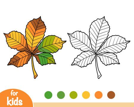 Coloring book for children, Horse Chestnut leaf Illustration