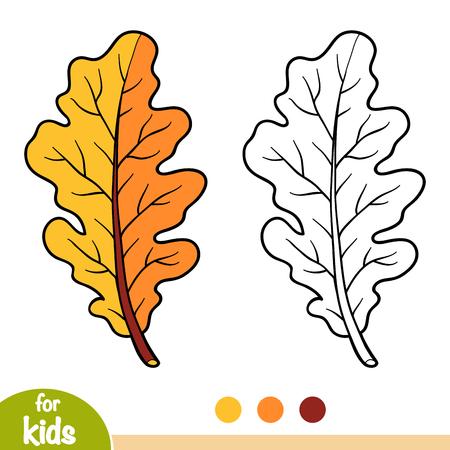 Coloring book for children, Oak leaf Illustration