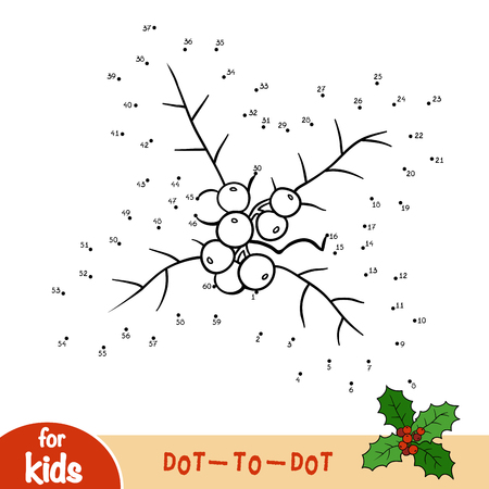 Numbers game, education dot to dot game for children, Holly branch