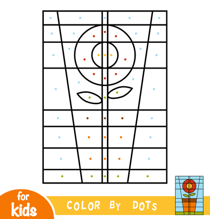 Color by dots, education game for children, Flower