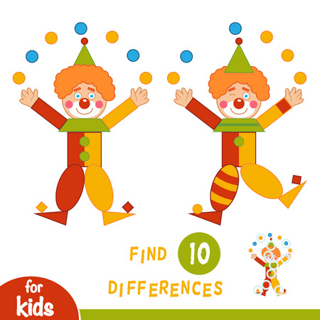 Find differences, education game for children, Clown Illustration