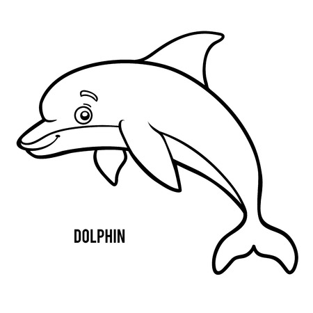 Coloring book for children, Dolphin