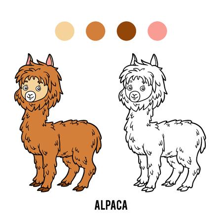 Coloring book for children, Alpaca