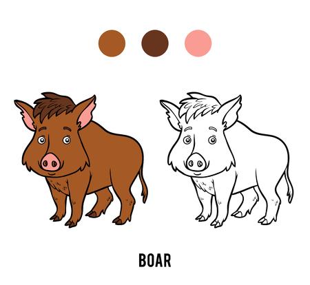 Coloring book for children, Boar Illustration