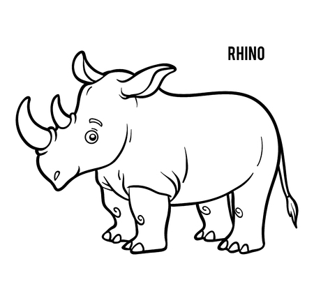 Coloring book for children, Rhino Stok Fotoğraf - 115130356