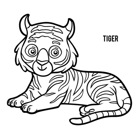 Coloring book for children, Tiger Stock Illustratie