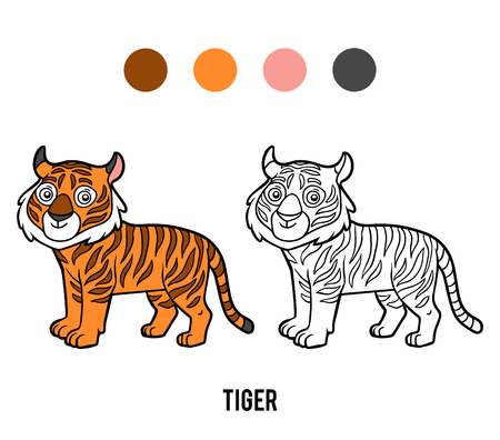 Coloring book for children, Tiger Stock Illustratie