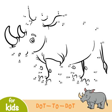 Gra liczbowa, edukacyjna gra kropka-kropka dla dzieci, Rhino