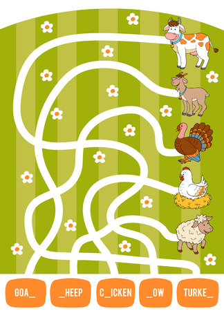 Maze game for children. Find the way from the picture to its title and fill the missing letters. Goat, Cow, Chicken, Turkey and Sheep