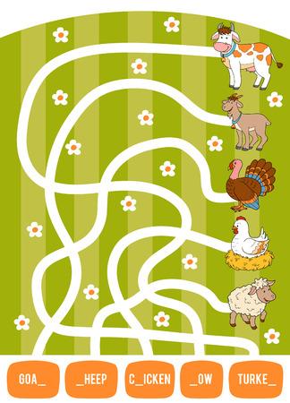 Jeu de labyrinthe pour les enfants. Trouvez le chemin de l'image à son titre et remplissez les lettres manquantes. Chèvre, vache, poulet, dinde et mouton