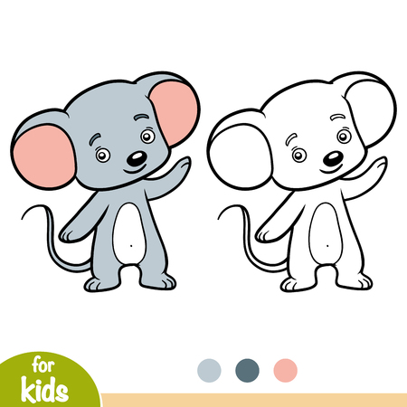 Coloring book for children, Mouse Illustration