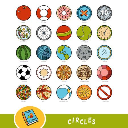 Insieme variopinto di oggetti a forma di cerchio. Dizionario visivo per bambini sulle forme geometriche. Istruzione impostata per lo studio della geometria.
