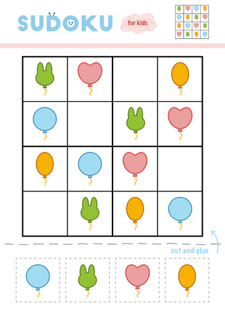 Sudoku for children, education game. Cartoon set of Party balloons. Use scissors and glue to fill the missing elements