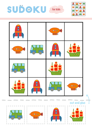 Sudoku for children, education game. Cartoon set of transport objects - Sailing ship, Bus, Spaceship and Airship. Use scissors and glue to fill the missing elements Vetores