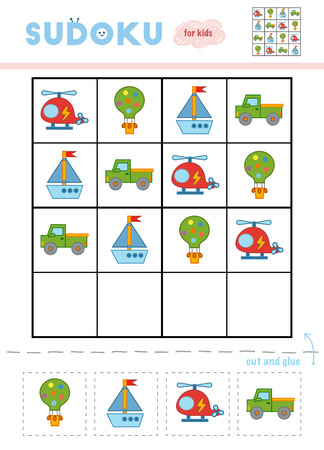 Sudoku for children, education game. Cartoon set of transport objects - Balloons, Pickup, Helicopter and Yacht. Use scissors and glue to fill the missing elements Illustration