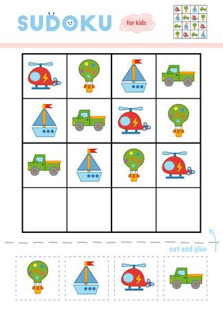 Sudoku für Kinder, Bildungsspiel. Cartoon-Set von Transportobjekten - Ballons, Pickup, Hubschrauber und Yacht. Verwenden Sie Schere und Kleber, um die fehlenden Elemente zu füllen