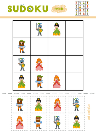 Sudoku for children, education game. Cartoon characters - Princess, Knight, Pirate. Use scissors and glue to fill the missing elements 向量圖像