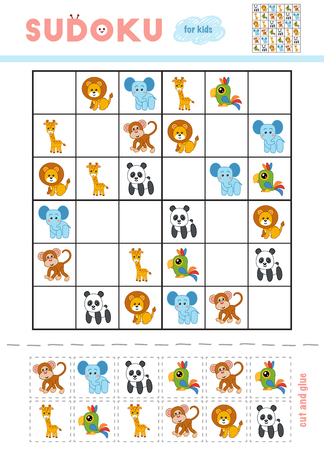 Sudoku for children, education game. Cartoon animals - Monkey, Giraffe, Lion, Parrot, Elephant and Panda. Use scissors and glue to fill the missing elements