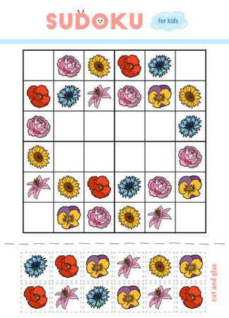 Sudoku per bambini, gioco educativo. Set di fiori. Usa le forbici e la colla per riempire gli elementi mancanti Vettoriali