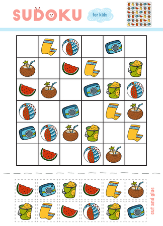 Sudoku for children, education game. Cartoon set of objects for vacation. Use scissors and glue to fill the missing elements Illustration