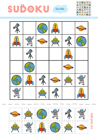 Sudoku for children, education game. Cartoon set of space objects. Use scissors and glue to fill the missing elements Illustration