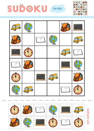 Sudoku for children, education game. Cartoon set of school objects. Use scissors and glue to fill the missing elements