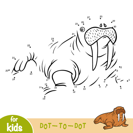 Numbers game, education dot to dot game for children, Walrus Ilustração