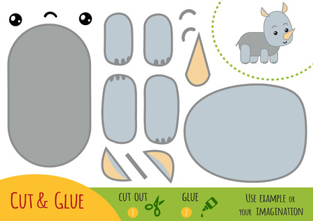 Education paper game for children, Rhino. Use scissors and glue to create the image.
