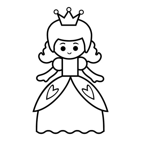 Coloring book for children, Princess 向量圖像