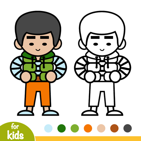Coloring book for children, Asian boy in the gilet