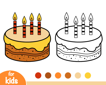 Coloring book for children, Cake Illustration