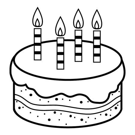 Coloring book for children, birthday cake