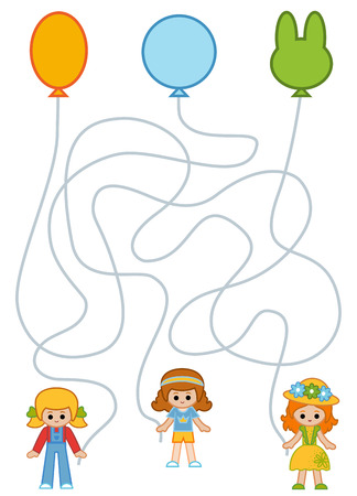 Maze game for children, education worksheet. Girls and Party balloons Illustration