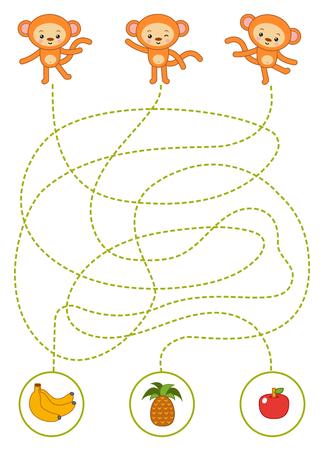Maze game for children, education worksheet. Monkeys and fruits Vetores
