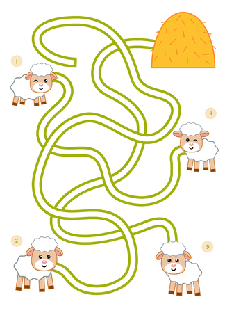 Maze game for children, education worksheet. Lamb and haystack