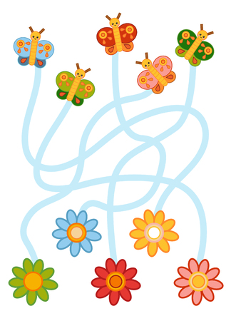 Maze game for children, education worksheet. Flowers and Butterflies